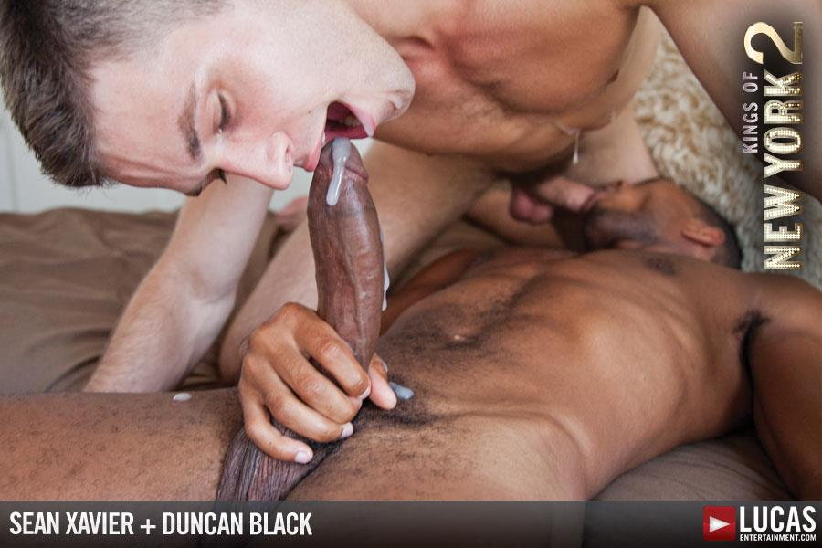 "Lucas-Entertainment-Kings-Of-New-York-Season-2-Sean-Sean-Xavier-and-Duncan-Black-Interracial-Fucking-Big-Black-Cock-Amateur-Gay-Porn-20 White Hunk Takes A 12"" Black Cock Up His Ass and Eats A Load"
