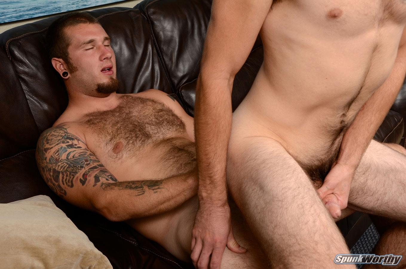 SpunkWorthy-Preston-and-Cy-Marine-Getting-Fucked-Hairy-Guy-Amateur-Gay-Porn-10 Bi-curious Marine Takes A Cock Up His Ass For The First Time