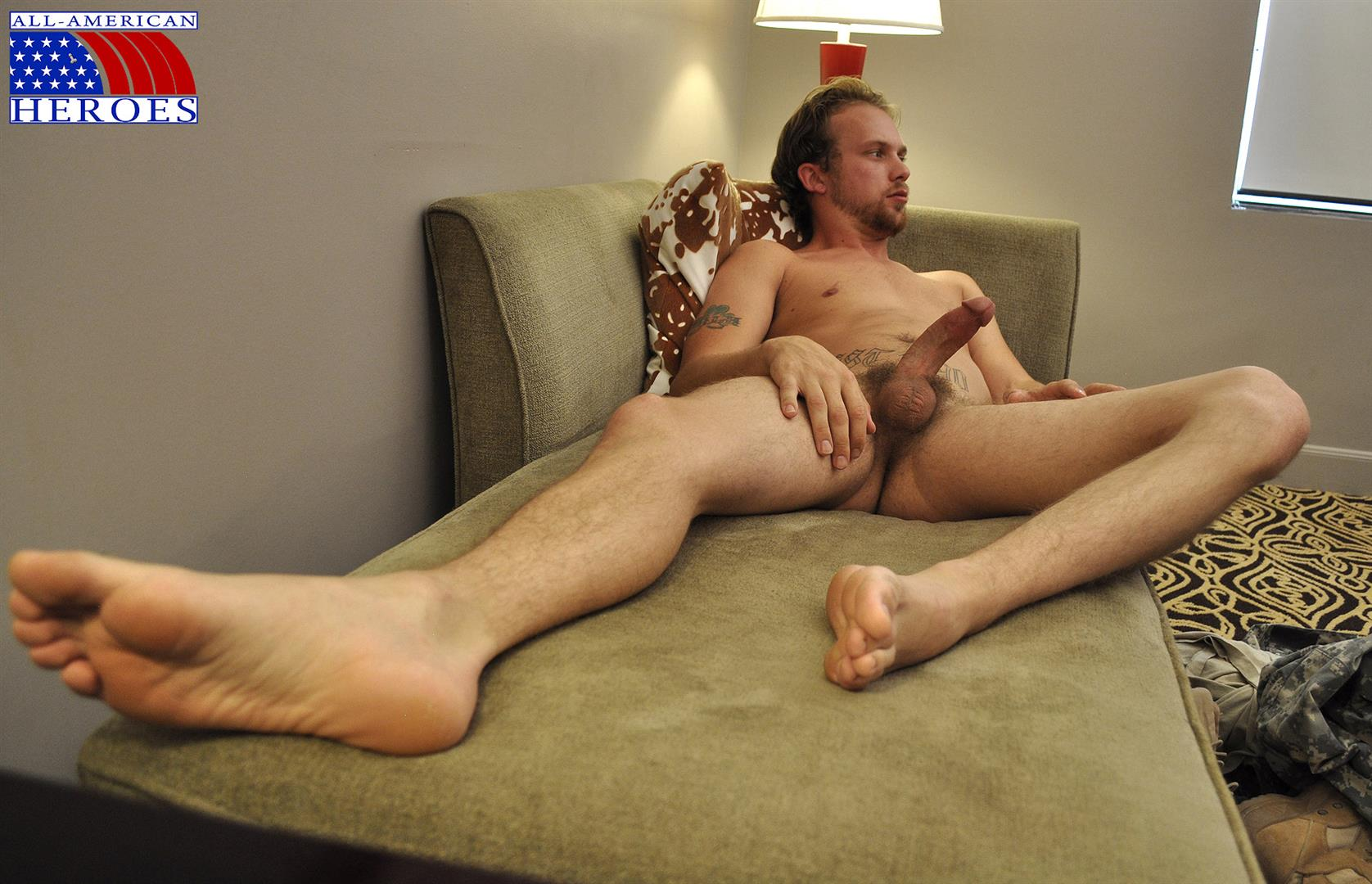 All-American-Heroes-US-Army-Specialist-Clark-Jerking-His-Big-Hairy-Cock-Amateur-Gay-Porn-12 US Army Specialist Masturbating His Hairy Curved Cock