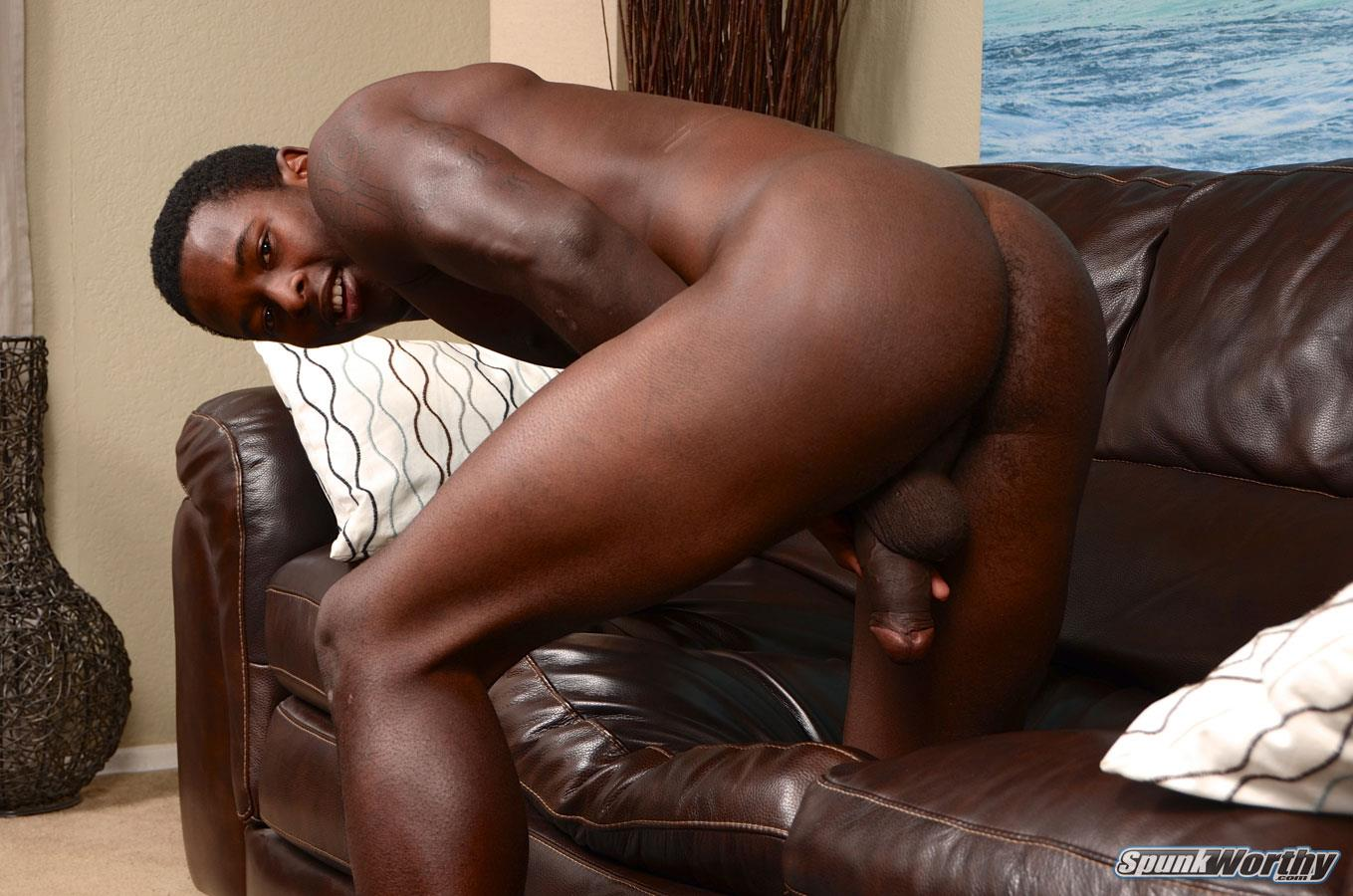 SpunkWorthy-Heath-Naked-College-Football-Player-Stroking-His-Big-Black-Cock-Amateur-Gay-Porn-12 Straight College Football Player Jerking His Big Uncut Black Cock