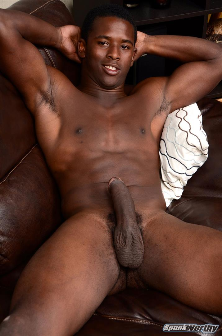 SpunkWorthy-Heath-Naked-College-Football-Player-Stroking-His-Big-Black-Cock-Amateur-Gay-Porn-16 Straight College Football Player Jerking His Big Uncut Black Cock