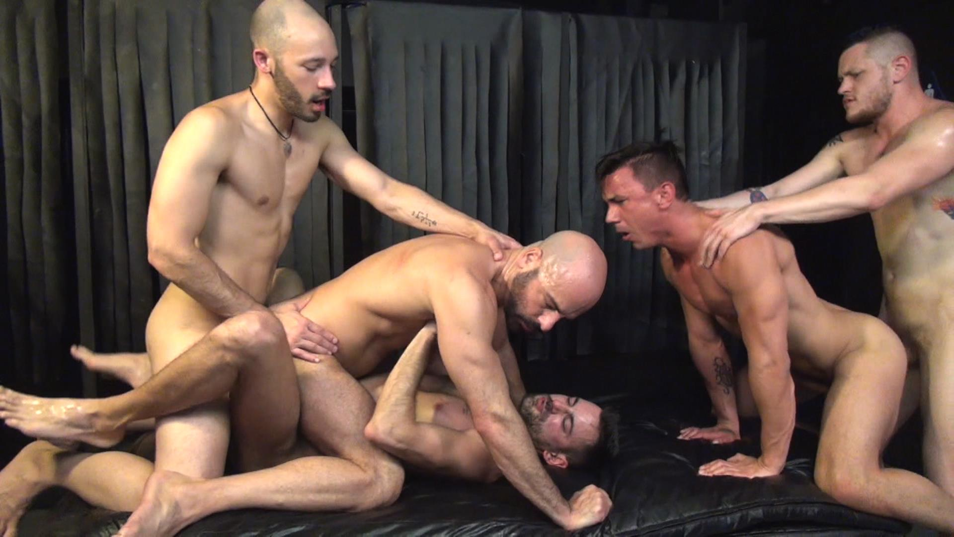 Raw Fuck Club Blue Bailey and Dylan Strokes and Adam Russo and Dean Brody and Jay Brix Bareback Orgy Amateur Gay Porn 7 Adam Russo Getting Double Penetrated At A Bareback Sex Party