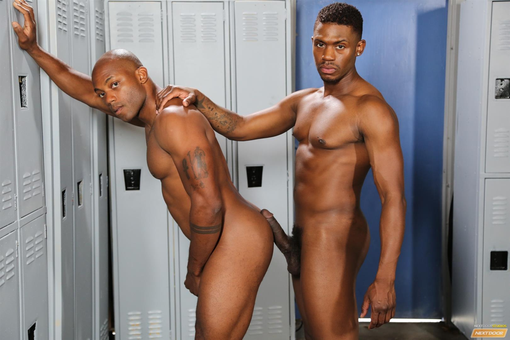 Next-Door-Ebony-Krave-Moore-and-Osiris-Blade-Big-Black-Cocks-Dicks-Fucking-Amateur-Gay-Porn-13 Muscular Black Guys Take Turns Fucking Each Other In The Locker Room