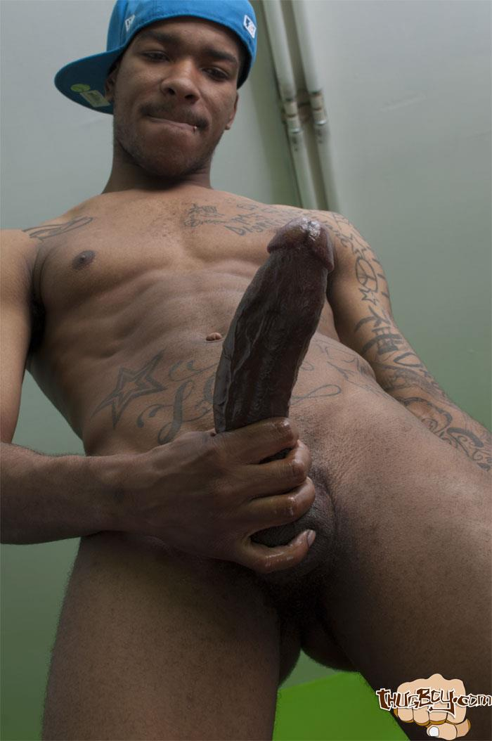 Thug-Boys-Black-Noir-Big-Black-Cock-Jerk-Off-Video-Amateur-Gay-Porn-17 Straight LA Thug Black Noir Jerking His Big Black Cock